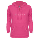 ENZA Ladies Hot Pink V Notch Raw Edge Fleece Hoodie-PVAMU Twirling Thunder Logo