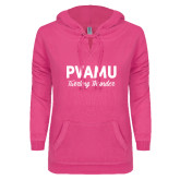 ENZA Ladies Hot Pink V Notch Raw Edge Fleece Hoodie-PVAMU Twirling Thunder Script