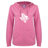 ENZA Ladies Hot Pink V Notch Raw Edge Fleece Hoodie-PVAM Texas