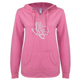 ENZA Ladies Hot Pink V Notch Raw Edge Fleece Hoodie-PVAM Texas White Soft Glitter