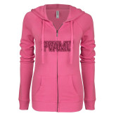 ENZA Ladies Hot Pink Light Weight Fleece Full Zip Hoodie-PVAMU Hot Pink Glitter