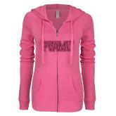 ENZA Ladies Hot Pink Light Weight Fleece Full Zip Hoodie-PVAMU Hot Pink Glitter