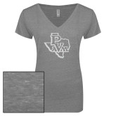 ENZA Ladies Graphite Melange V Neck Tee-PVAM Texas White Soft Glitter