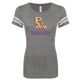 ENZA Ladies Dark Heather/White Vintage Football Tee-PVAM Stacked