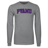 Grey Long Sleeve T Shirt-Arched PVAMU
