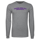 Grey Long Sleeve T Shirt-Arched Prairie View A&M