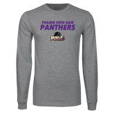 Grey Long Sleeve T Shirt-Stacked Prairie View A&M Panthers