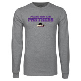 Grey Long Sleeve T Shirt-Collegiate Stacked Prairie View A&M Panthers