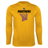 Syntrel Performance Gold Longsleeve Shirt-Basketball Design