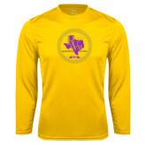 Performance Gold Longsleeve Shirt-PVAM Marching Band Seal
