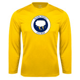 Syntrel Performance Gold Longsleeve Shirt-Marching Storm Cloud Circle