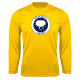 Performance Gold Longsleeve Shirt-Marching Storm Cloud Circle