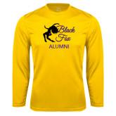Performance Gold Longsleeve Shirt-Black Fox Alumni