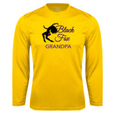 Syntrel Performance Gold Longsleeve Shirt-Black Fox Grandpa