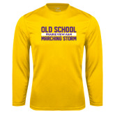 Performance Gold Longsleeve Shirt-Old School Marching Storm Stacked