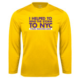 Performance Gold Longsleeve Shirt-The Storm To NYC Stacked