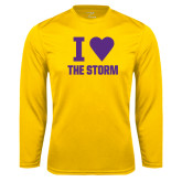 Syntrel Performance Gold Longsleeve Shirt-I Heart The Storm