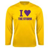 Performance Gold Longsleeve Shirt-I Heart The Storm