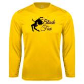 Syntrel Performance Gold Longsleeve Shirt-Black Fox Logo