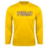 Performance Gold Longsleeve Shirt-PVAMU Black Fox Overlap