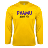 Performance Gold Longsleeve Shirt-PVAMU Black Fox Script