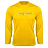 Performance Gold Longsleeve Shirt-PVAMU Twirling Thunder Logo