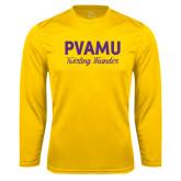 Performance Gold Longsleeve Shirt-PVAMU Twirling Thunder Script