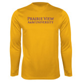 Performance Gold Longsleeve Shirt-Word Mark Stacked