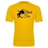 Syntrel Performance Gold Tee-Black Fox Logo