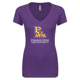 Next Level Ladies Vintage Purple Tri Blend V Neck Tee-PVAM Stacked