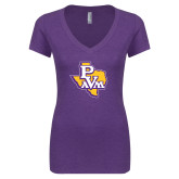Next Level Ladies Vintage Purple Tri Blend V Neck Tee-PVAM Texas