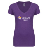 Next Level Ladies Vintage Purple Tri Blend V Neck Tee-Mom