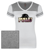 Ladies White/Heathered Nickel Juniors Varsity V Neck Tee-Official Logo