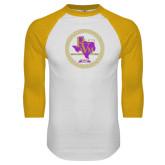 White/Gold Raglan Baseball T-Shirt-PVAM Marching Band Seal