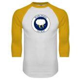 White/Gold Raglan Baseball T-Shirt-Marching Storm Cloud Circle