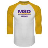 White/Gold Raglan Baseball T-Shirt-MSD Alumni