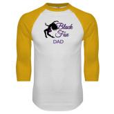 White/Gold Raglan Baseball T-Shirt-Black Fox Dad