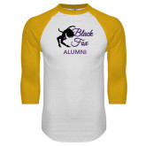 White/Gold Raglan Baseball T-Shirt-Black Fox Alumni
