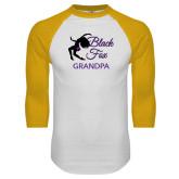 White/Gold Raglan Baseball T-Shirt-Black Fox Grandpa