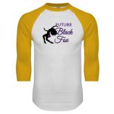 White/Gold Raglan Baseball T-Shirt-Future Black Fox