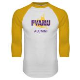 White/Gold Raglan Baseball T-Shirt-Twirling Thunder Alumni