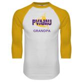 White/Gold Raglan Baseball T-Shirt-Twirling Thunder Grandpa