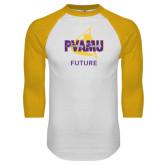 White/Gold Raglan Baseball T-Shirt-Future Twirling Thunder