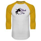 White/Gold Raglan Baseball T-Shirt-Black Fox Logo