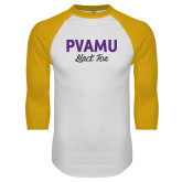 White/Gold Raglan Baseball T-Shirt-PVAMU Black Fox Script