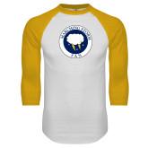 White/Gold Raglan Baseball T Shirt-Marching Storm Cloud Circle - Fan