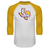 White/Gold Raglan Baseball T Shirt-PVAM Texas