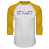 White/Gold Raglan Baseball T Shirt-Word Mark Stacked