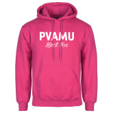 Fuchsia Fleece Hoodie-PVAMU Black Fox Script