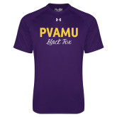 Under Armour Purple Tech Tee-PVAMU Black Fox Script